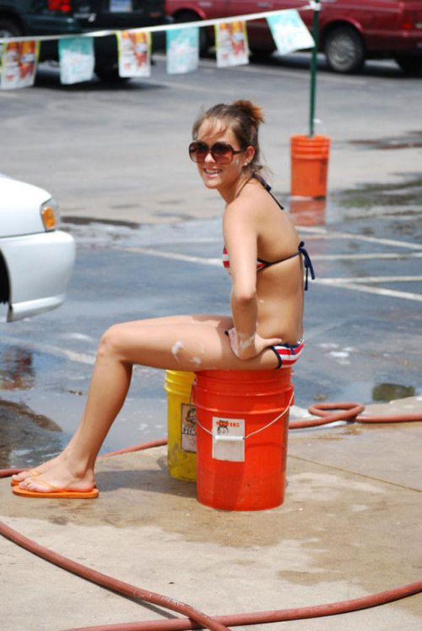 four car washing hotties service one big dicked guy outdoors  286061
