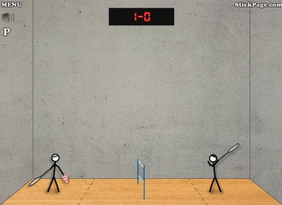 Stick Figure Badminton - игра в бадминтон, самому или вдвоем